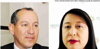 Jorge Cubides (Izq) rector de la Institución y Gilma Castañeda (der) secretaria de educación del municipio.