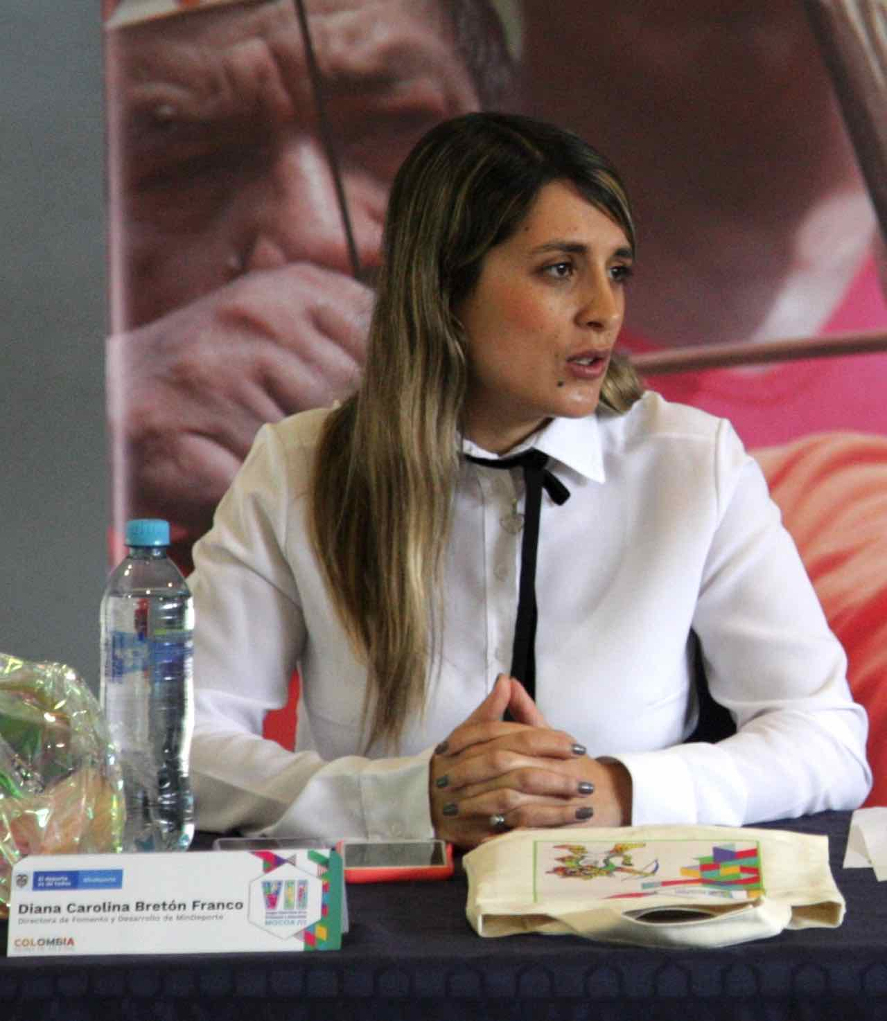 Diana Carolina Bretón Franco, directora de Fomento y Desarrollo del Deporte del Ministerio del Deporte, ratificó a Boyacá sede de los Juegos.