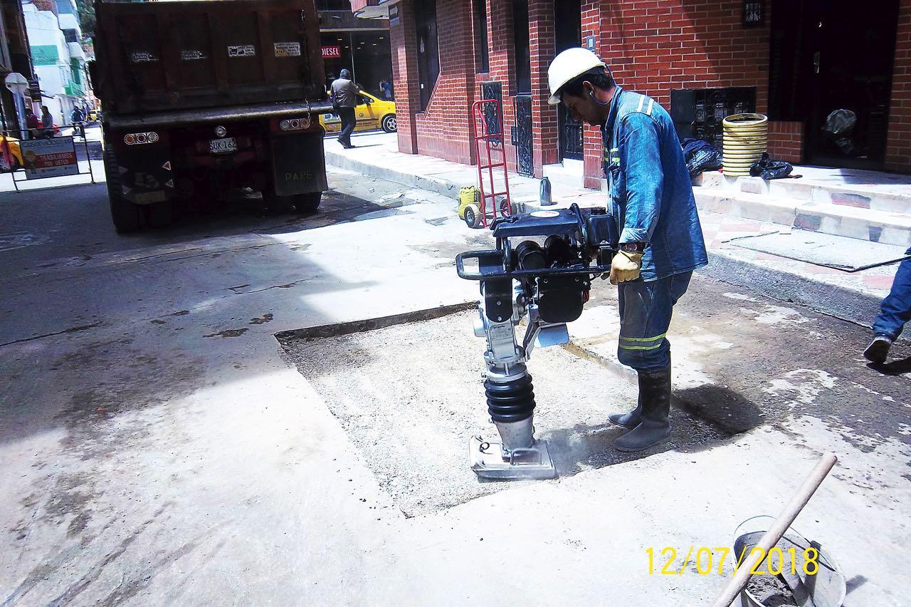 Obras en Calle novena en Sogamoso