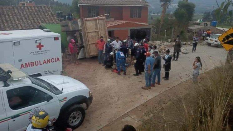 Accidente Volqueta en Tibasosa