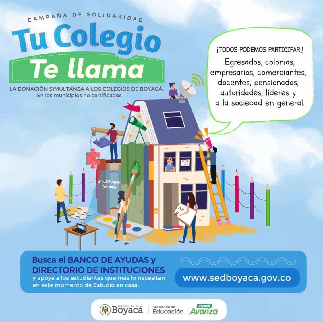 Lanzan campaña para apoyar a los estudiantes de Boyacá #TuColegioTeLlama 1