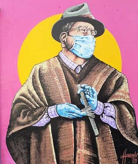 """Así luce ahora en este mural """"El Carranguero mayor"""". Foto: Archivo Particular"""