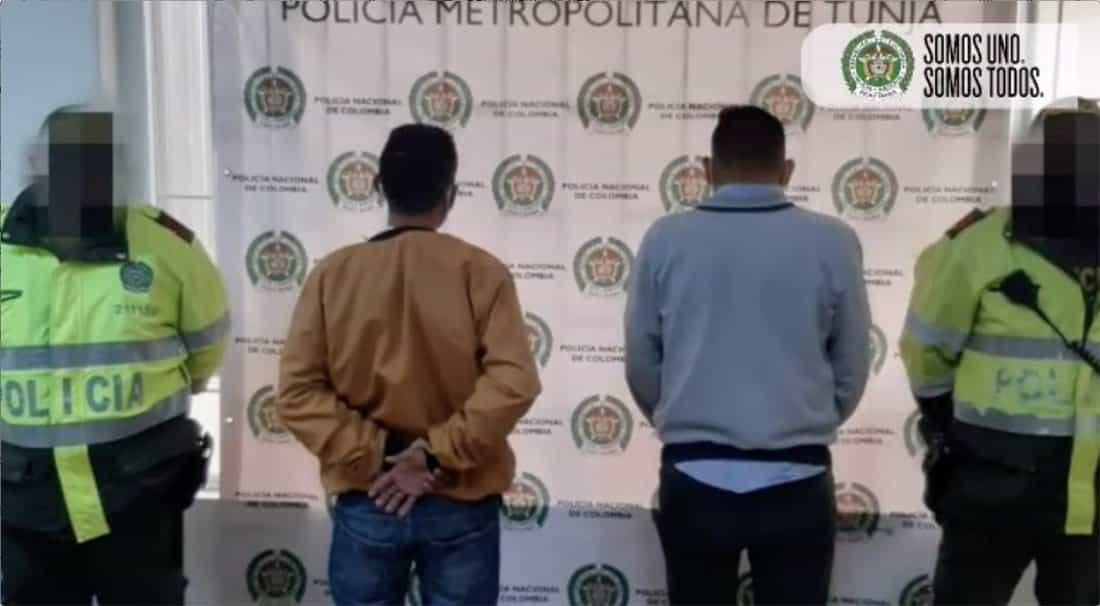Capturados en el barrio La Concepción de Tunja. Foto: Policía Nacional.