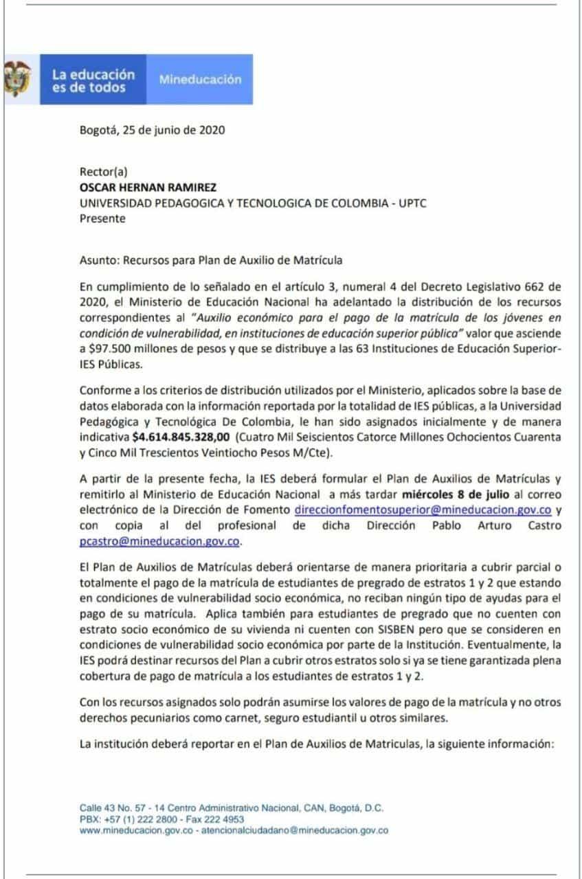 Esta es parte de la carta dirigida desde el Ministerio de Educación al rector de la Uptc, en la que se le cinfirma el monto de la ayuda.