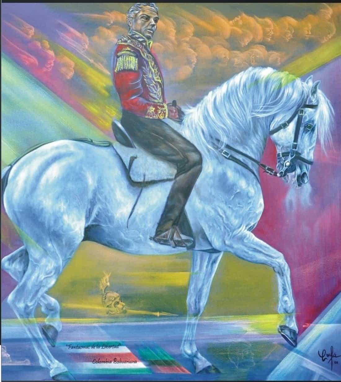 Pintura en homenaje al libertador Simón Bolívar en su caballo Palomo. Obra del maestro boyacense Jorge Armando Gómez Orozco, 'Cocke'. Foto: archivo particular