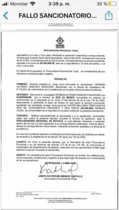 Exalcalde de Moniquirá califica de absurdo el fallo de la Procuraduría que lo inhabilita por 12 años 3