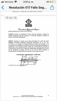 Exalcalde de Moniquirá califica de absurdo el fallo de la Procuraduría que lo inhabilita por 12 años 6