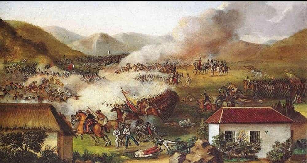 Cuadro del maestro José María Espinosa que recrea la Batalla del Puente de Boyacá. Se encuentra en el Museo de la Independencia, en la Casa del Florero. Foto: archivo particular