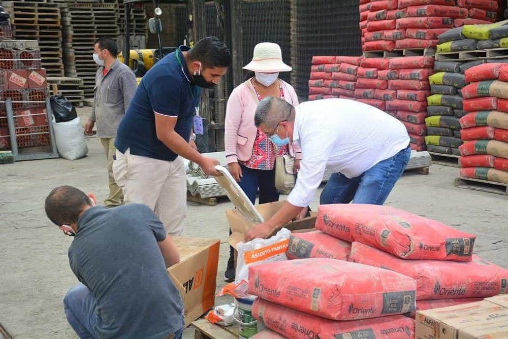 Los auxilios que se brindarán son en materiales de construcción, como arena, cemento, enchapes, baterías de baño, hierro y pintura. Foto: archivo particular.
