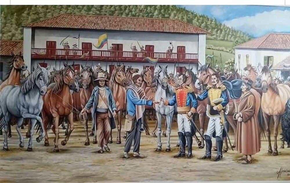 Momento en que el niño Pedro Pascasio Martínez conoce al general Simón Bolívar, en la casa de Juan José Leiva, en Belén, donde se alojó el Libertador. Archivo particular
