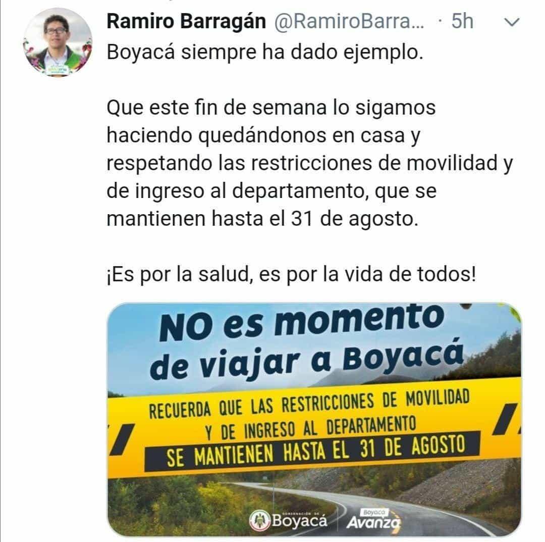 La campaña del Gobernador para que turistas no vengan a Boyacá #Tolditos7días 1