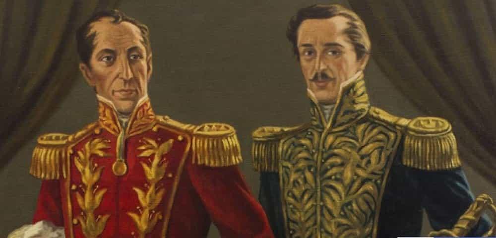 Óleo en homenaje a los generales Simón Bolívar y Francisco de Paula Santander. Archivo particular