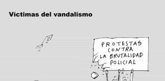 victimas de vandalismo - caricatura 7 dias