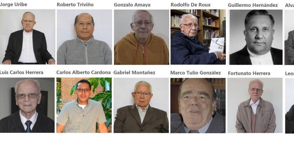 Estos son algunos de los religiosos fallecidos en apenas 15 días, la mayoría de ellos por el covid-19. Sus fotos formaron parte de un homenaje de la página web Jesuitas Colombia.  Foto: Jesuitas.co