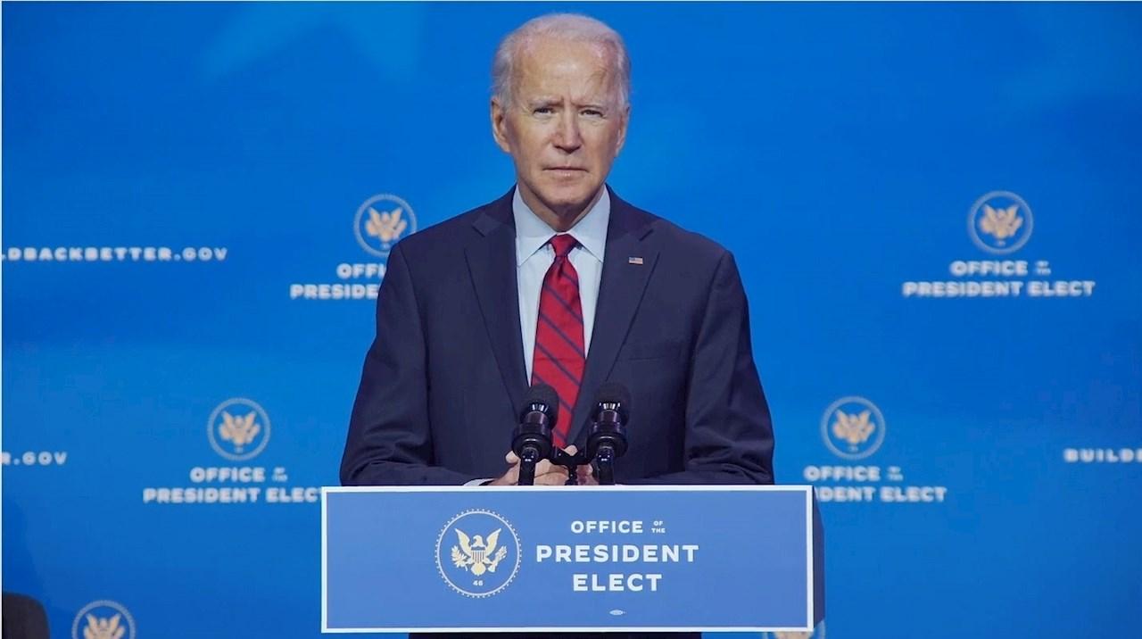 Joseph R. Biden hablando durante una conferencia de prensa en Wilmington, Delaware, EE. UU., 08 Diciembre de 2020