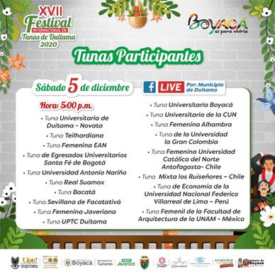 Llega la edición XVII del Festival Internacional de Tunas de Duitama 2