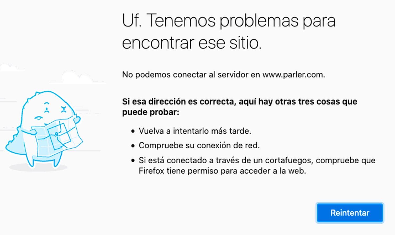 Mensaje mostrado por el navegador Mozilla al intentar acceder a la web de Parler