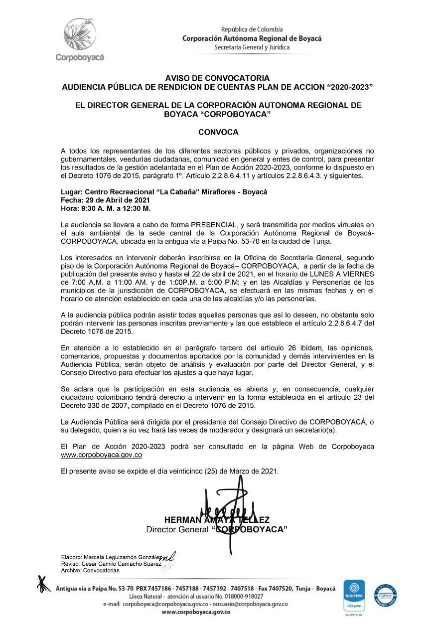 """Aviso de Convocatoria Audiencia Pública de Rendición de Cuentas Plan de Acción """"2020-2023"""" Corpoboyacá 1"""