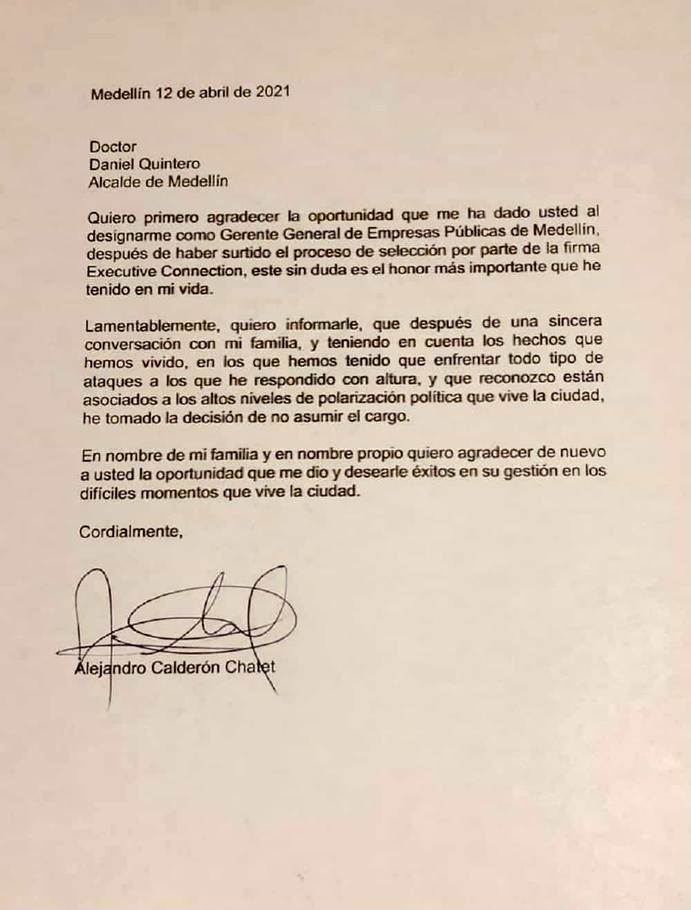 El boyacense Alejandro Calderón Chatet no aguantó la presión y renunció a la gerencia de EPM 2