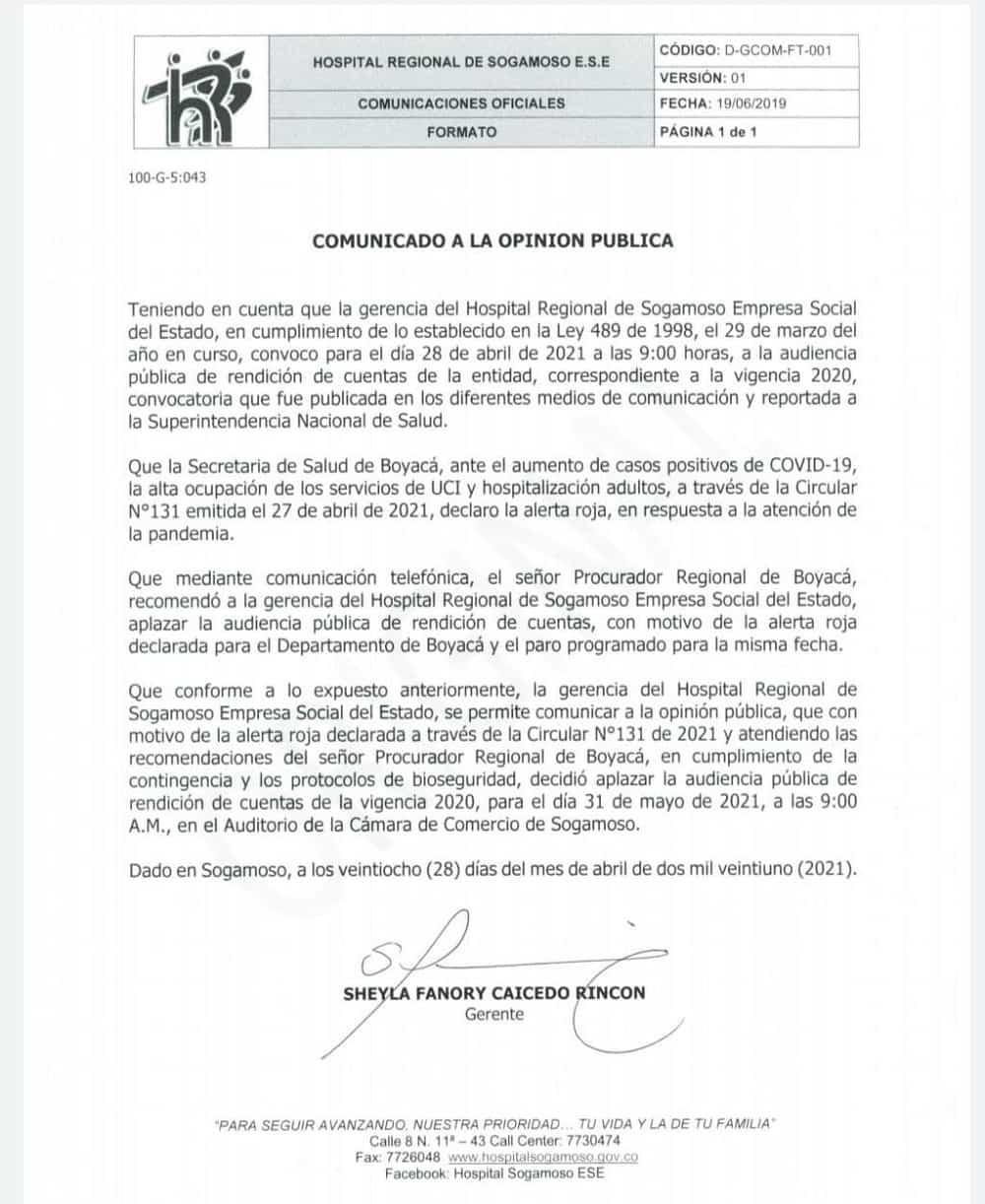 Hospital Regional de Sogamoso aplazó audiencia de rendición de cuentas por alerta roja y paro 2