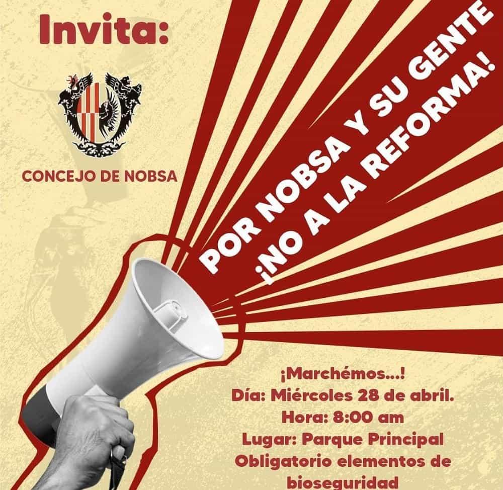 El Concejo de Nobsa está invitando a salir hoy a marchar contra la reforma #Tolditos7días 1