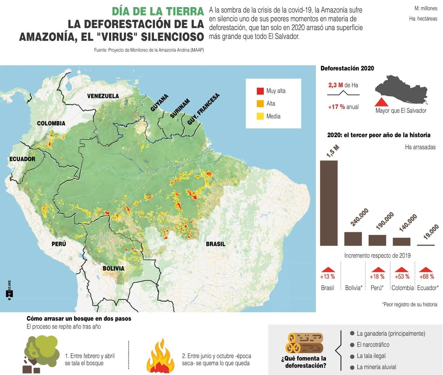 [Infografía] - Día de la Tierra - La deforestación de la Amazonía, el virus silencioso 1