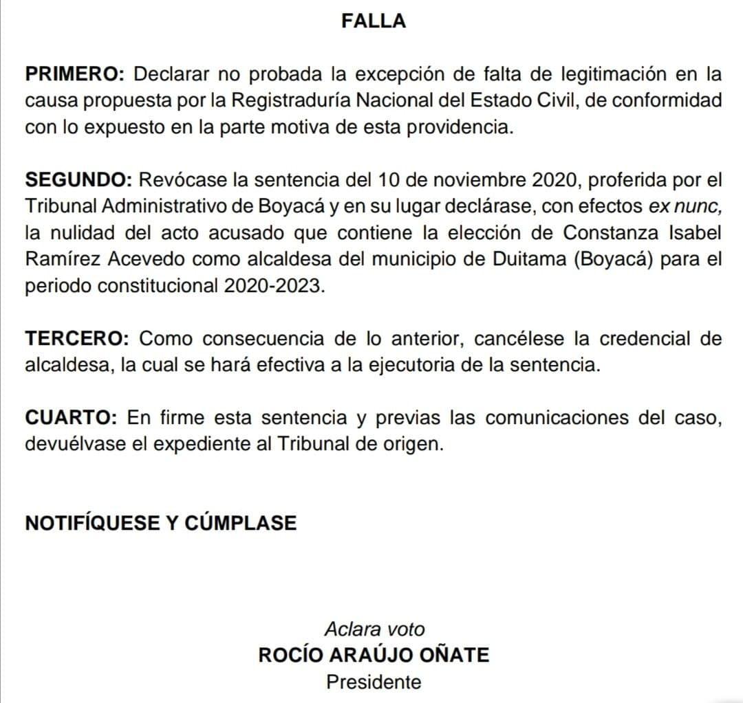 Duitama se queda sin alcaldesa por fallo del Consejo de Estado 1