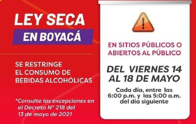 Estas son las medidas en Boyacá para este fin de semana y el lunes festivo 2