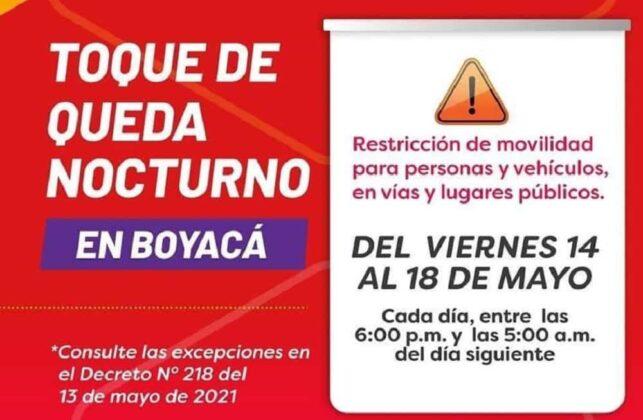 Estas son las medidas en Boyacá para este fin de semana y el lunes festivo 3