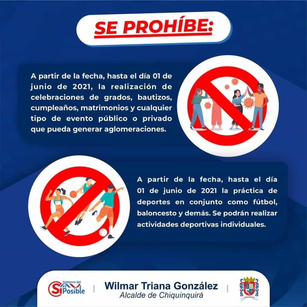Estas son las nuevas medidas restrictivas que regirán en Chiquinquirá a partir de hoy viernes 21 de mayo de 2021 2