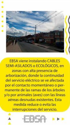 ¿Para qué la EBSA está instalando en su infraestructura cables semi-aislados o ecológicos? 5