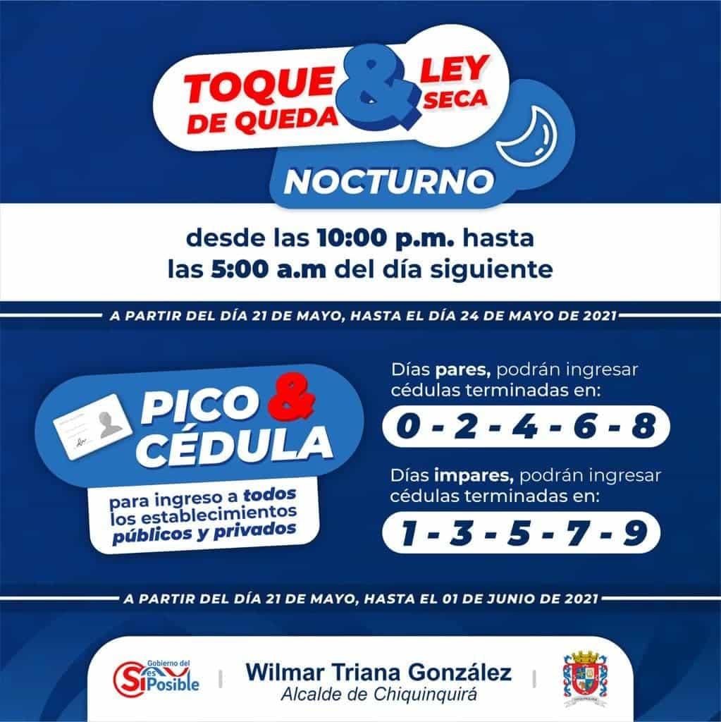 Estas son las nuevas medidas restrictivas que regirán en Chiquinquirá a partir de hoy viernes 21 de mayo de 2021 1