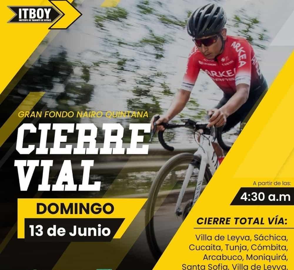 Cierres viales el próximo domingo por El Gran Fondo Nairo Quintana 1
