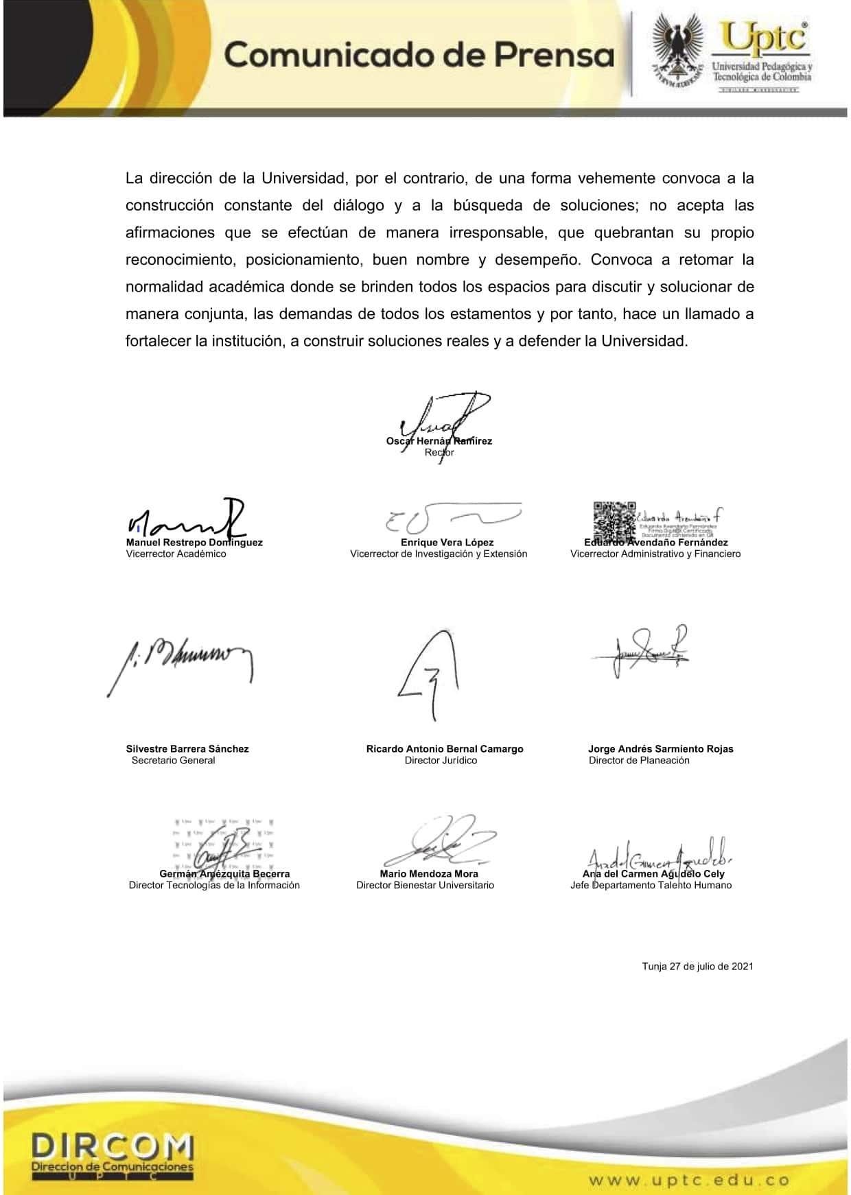 Comunicado de la Universidad Pedagógica y Tecnológica de Colombia - UPTC 4