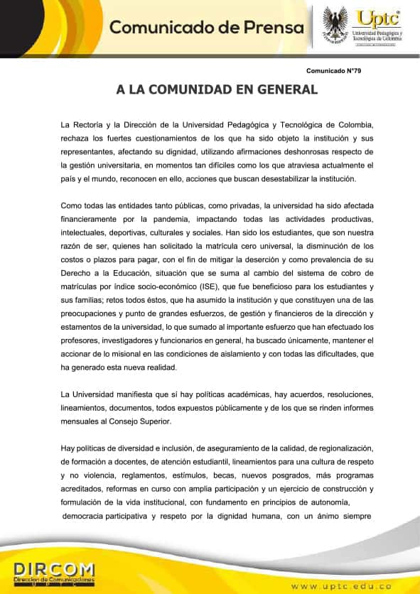 Comunicado de la Universidad Pedagógica y Tecnológica de Colombia - UPTC 1