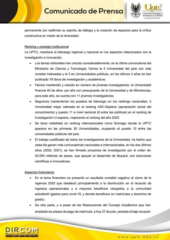 Comunicado de la Universidad Pedagógica y Tecnológica de Colombia - UPTC 2