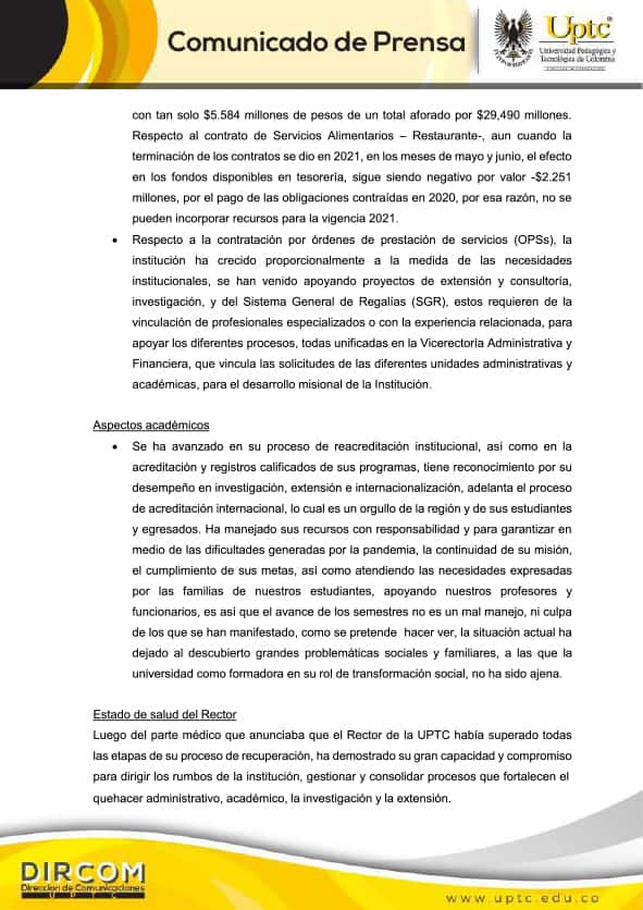 Comunicado de la Universidad Pedagógica y Tecnológica de Colombia - UPTC 3