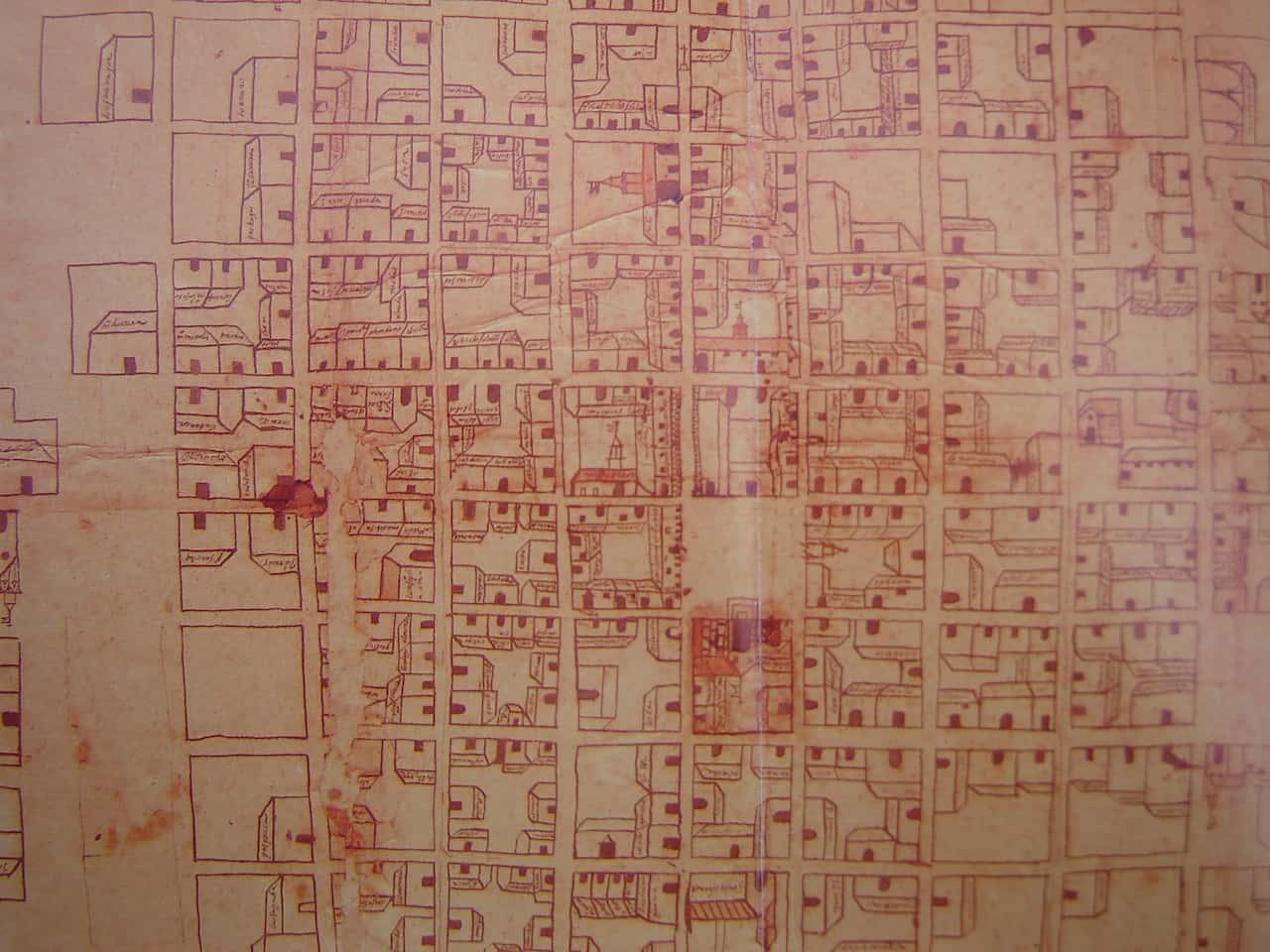 Este plano del centro de Tunja correspondiente al año 1623 deja ver cómo se organizaban las cuadras y manzanas. Foto: Archivo Digital de Tunja.