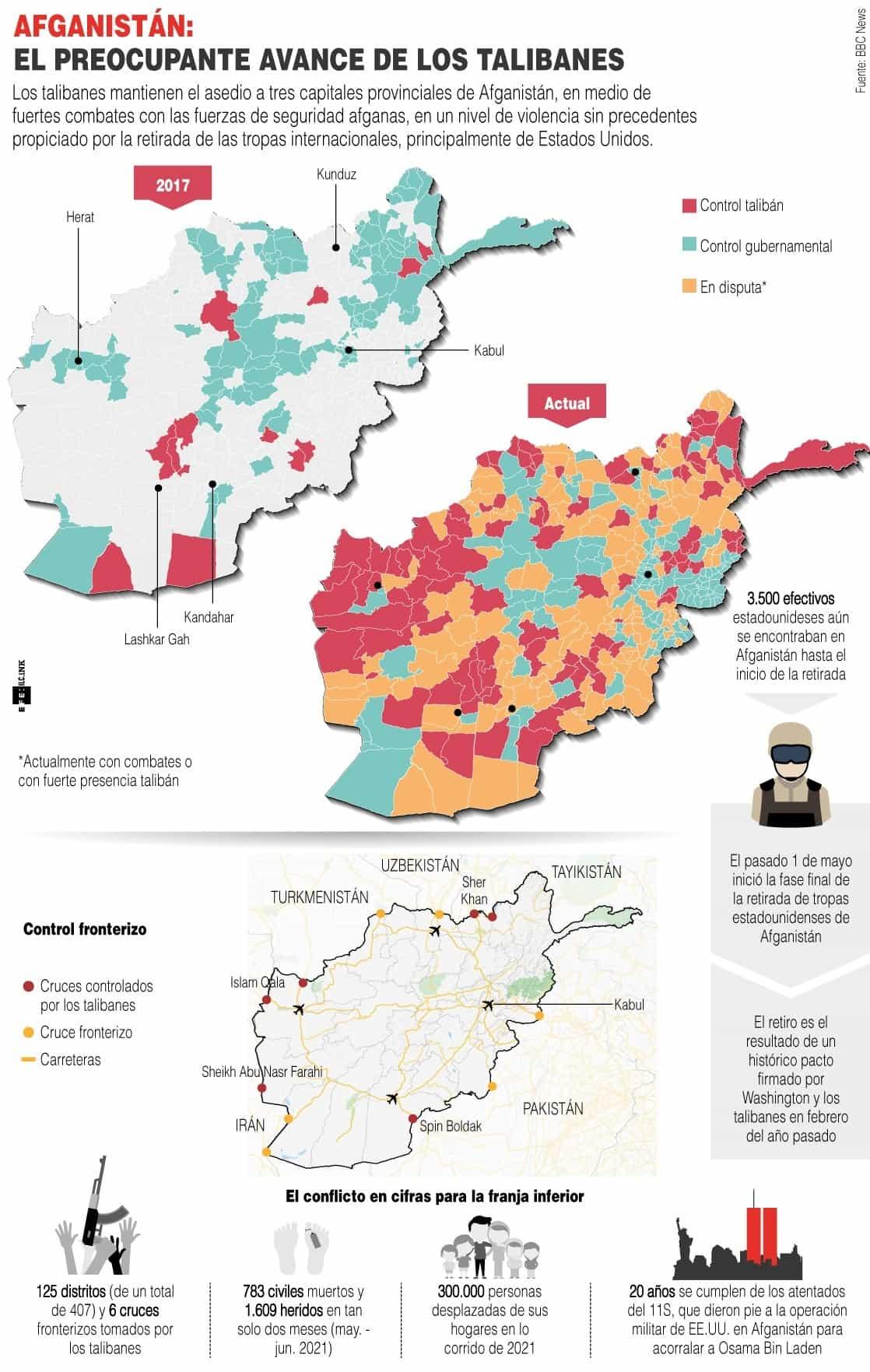 [Infografía] Afganistán culpa a EE. UU. del avance talibán, que asedia tres ciudades clave 1
