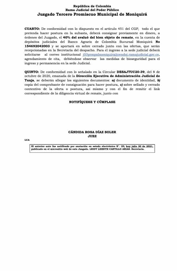 Juzgado Tercero Promiscuo Municipal de Moniquirá resuelve: 8