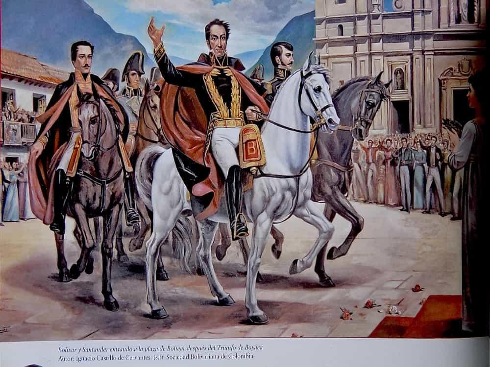 En este cuadro, del maestro José Ignacio Castillo Cervantes, se representa la entrada triunfal de Simón Bolívar y su ejército a Bogotá después de la Batalla de Boyacá. Archivo particular