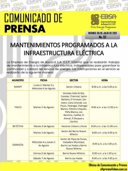 Mantenimientos programados a la infraestructura eléctrica en Boyacá para esta semana 5