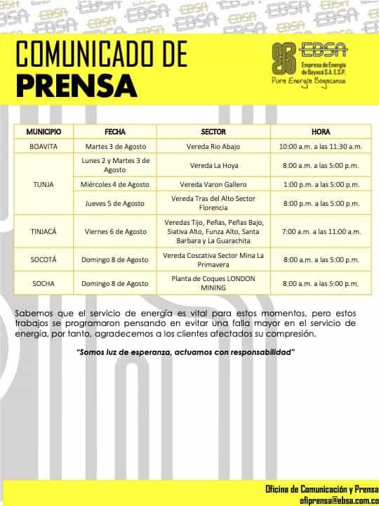 Mantenimientos programados a la infraestructura eléctrica en Boyacá para esta semana 6