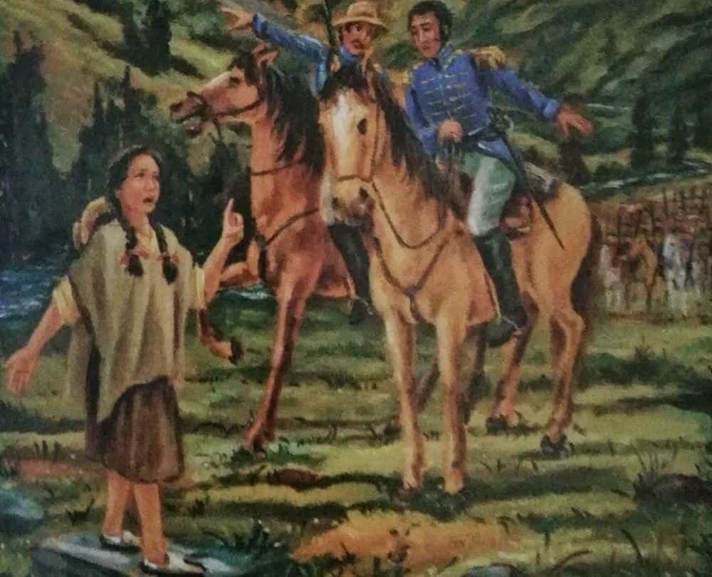 En este óleo, el maestro Delfín Ibáñez representa a la niña Estefanía Parra diciéndoles a los militares patriotas por dónde debían pasar el río Teatinos. Archivo particular