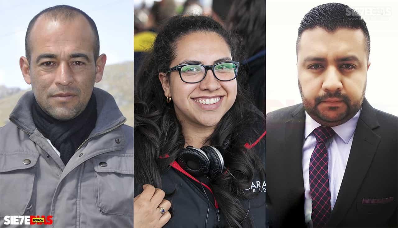 Gerson Flórez, Eliana Castro Sandoval y Andrés Morantes. Fotos: archivo Boyacá Siete Días.