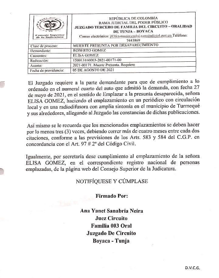 Juzgado Tercero de Familia del Circuito - Oralidad de Tunja Boyacá requiere a 3