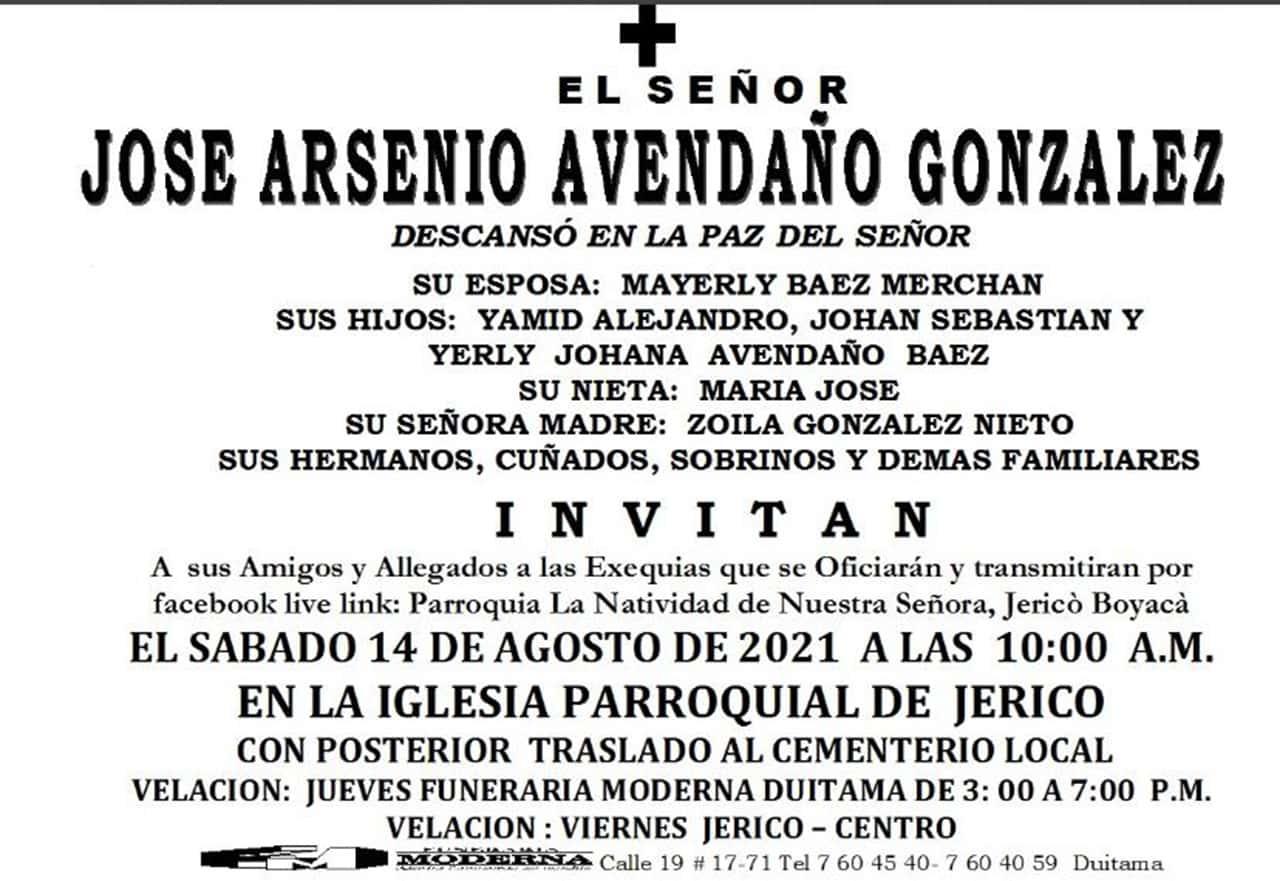 Este aviso fúnebre está ubicado no solo en Jericó y Chita, sino también en Duitama, ciudad donde la familia era muy conocida y querida.