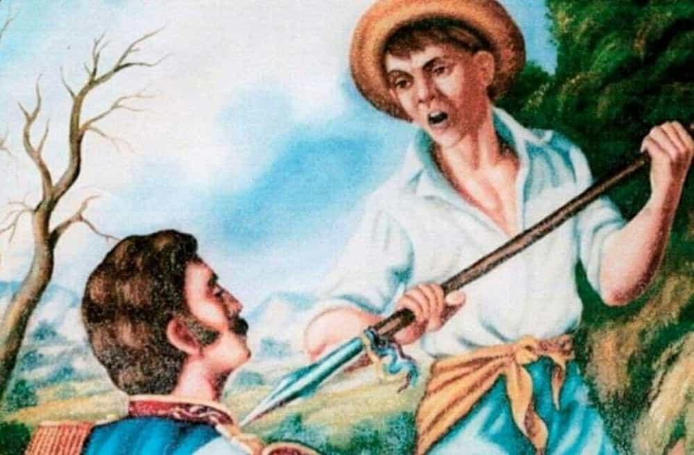 Cuadro que representa la captura de Barreiro por parte del niño soldado, cuando el oficial español huía después de la derrota en la Batalla del Puente de Boyacá. Foto: archivo particular