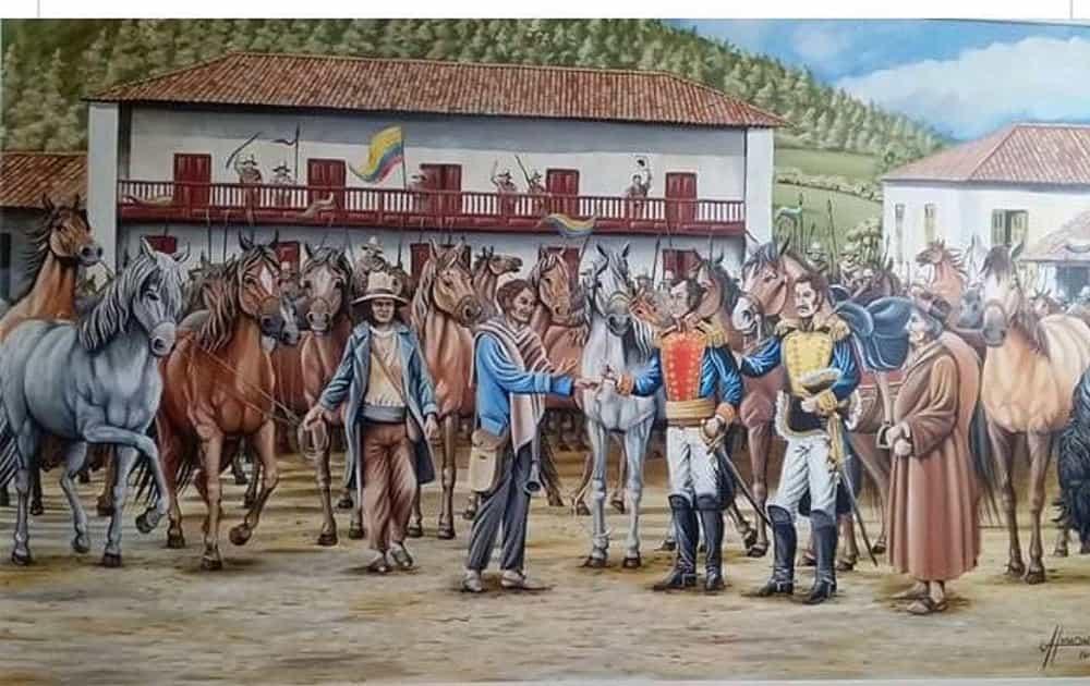 Momento en que el niño Pedro Pascasio Martínez conoce al general Simón Bolívar, en la casa de Juan José Leiva, en Belén, donde se alojó el Libertador. Foto: archivo particular