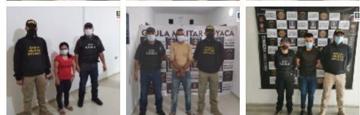 Algunos de los judicializados por estar presuntamente implicados en extorsiones realizadas desde varias cárceles del país. Fotos suministradas/archivo particular